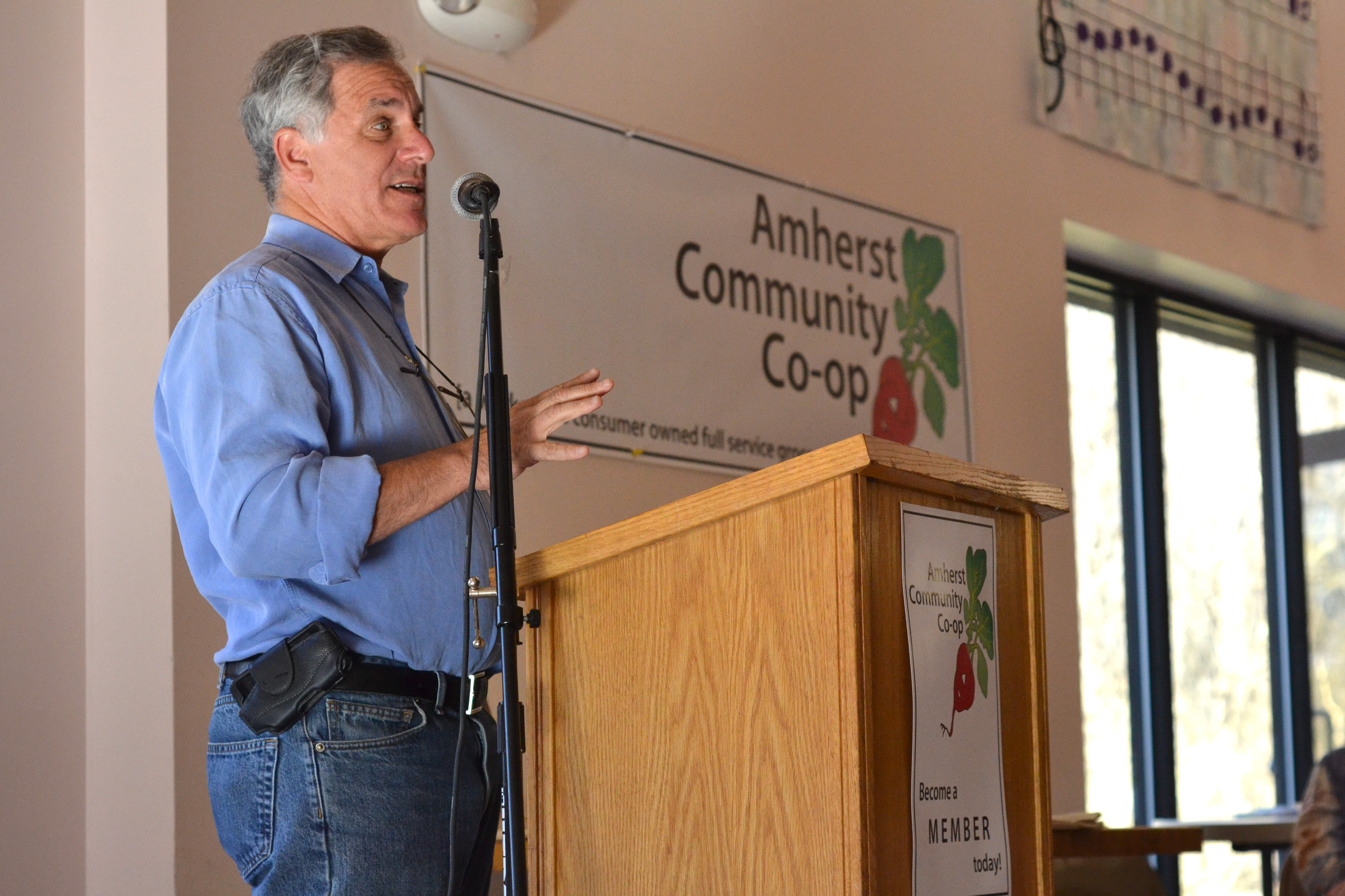 Gary Hirshberg of Stonyfield Farms speaks. [photo credit: Rebekah Hanlon]