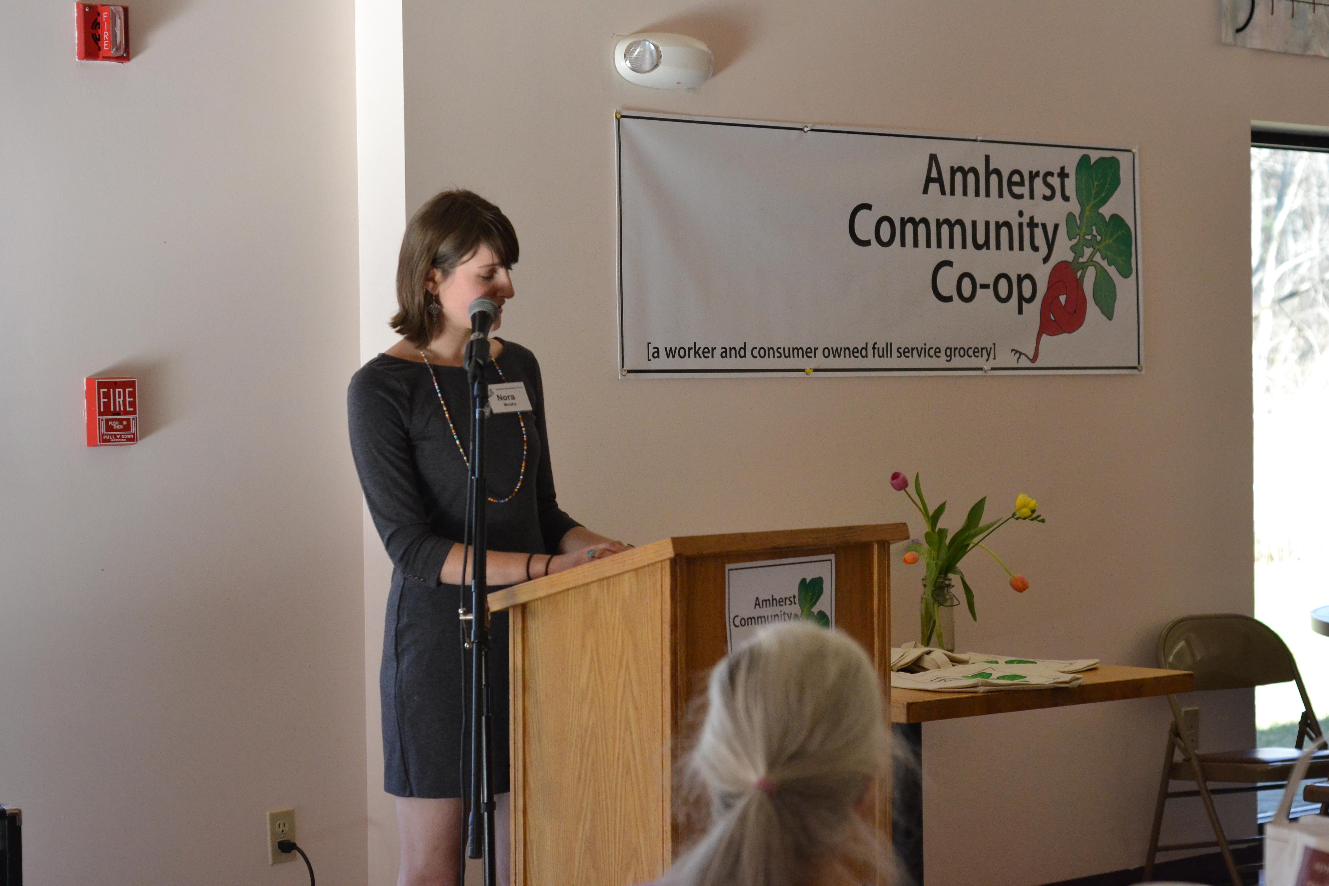 Steering Committee member Nora Murphy speaks. [photo credit: Rebekah Hanlon]
