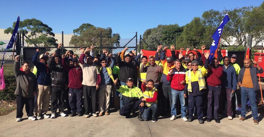 Striking Bitzer workers keep their cool