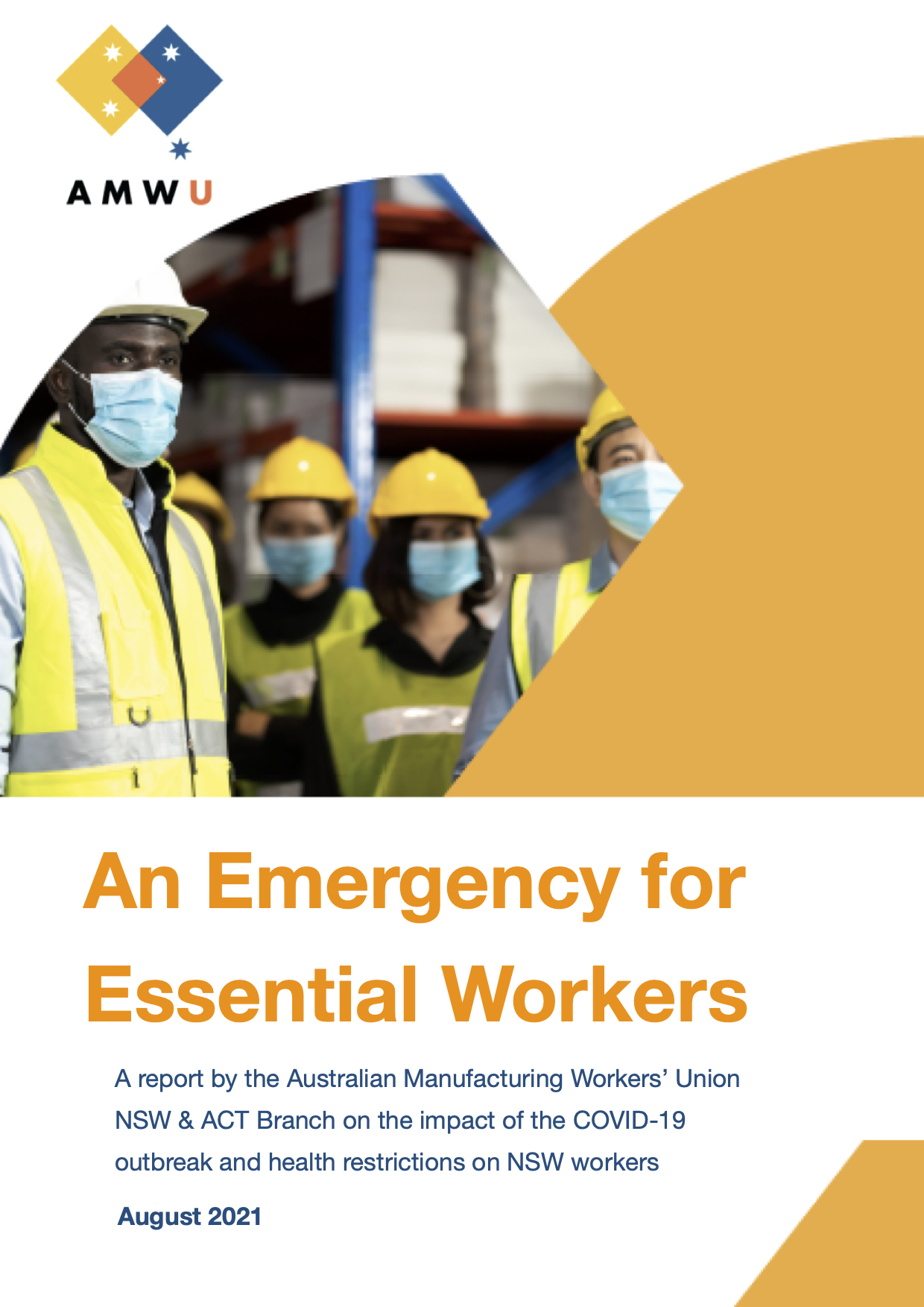 Front cover of AMWU NSW report, An Emergency for Essential Workers
