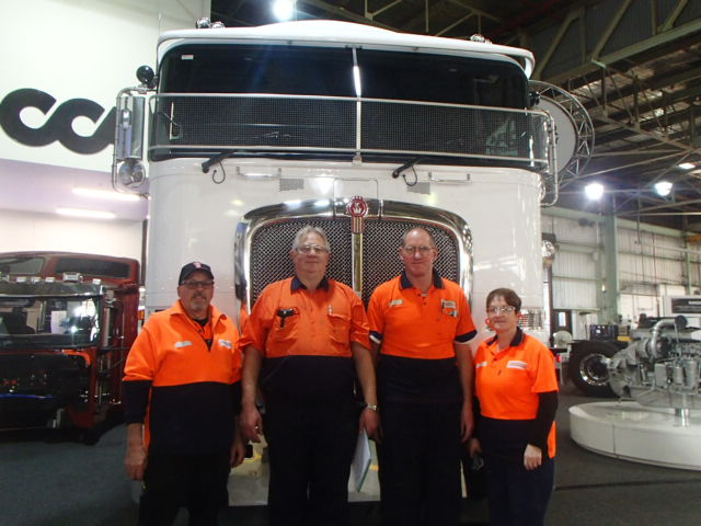 Rolling out a good deal: AMWU members at Kenworth include our shop steward Garry Walsh, Paul White, Erwin Tromp (Deputy Steward) and Yvonne Walsh.