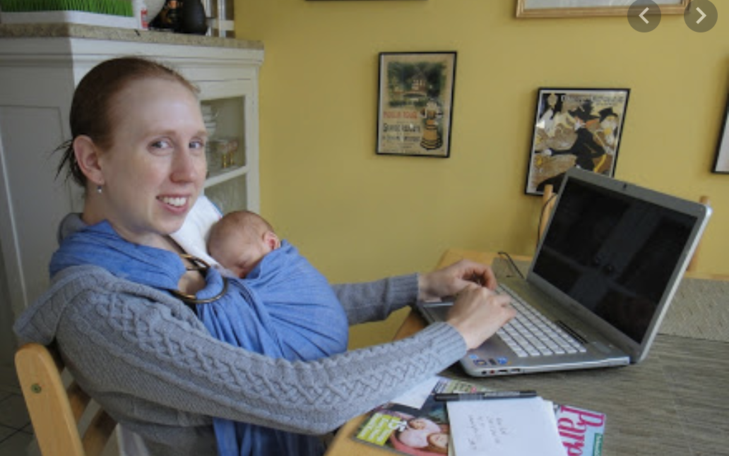 Lori working with baby