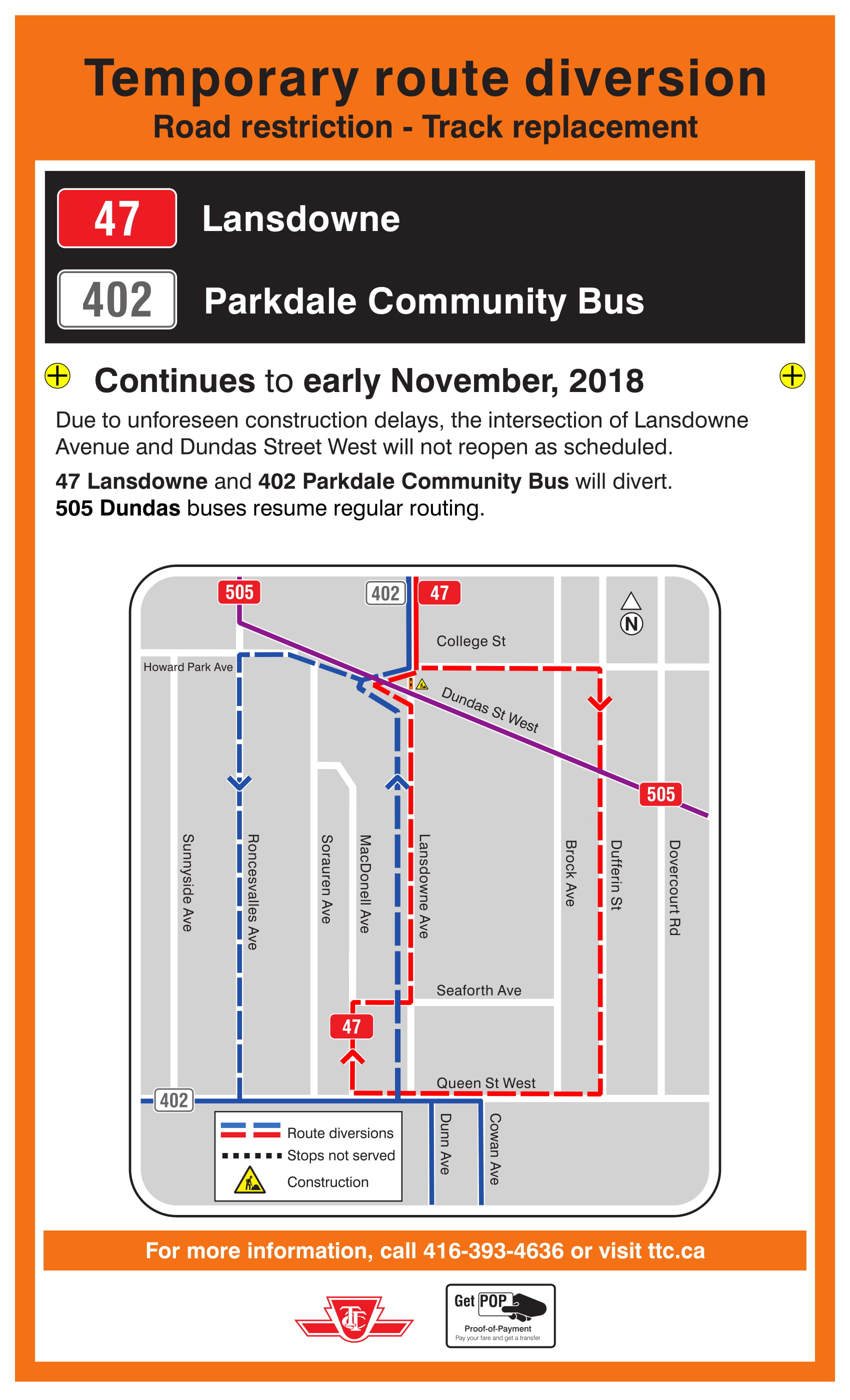 Please See The Revised Diversion Map Card Which The Ttc Will Be Posting Along The Route