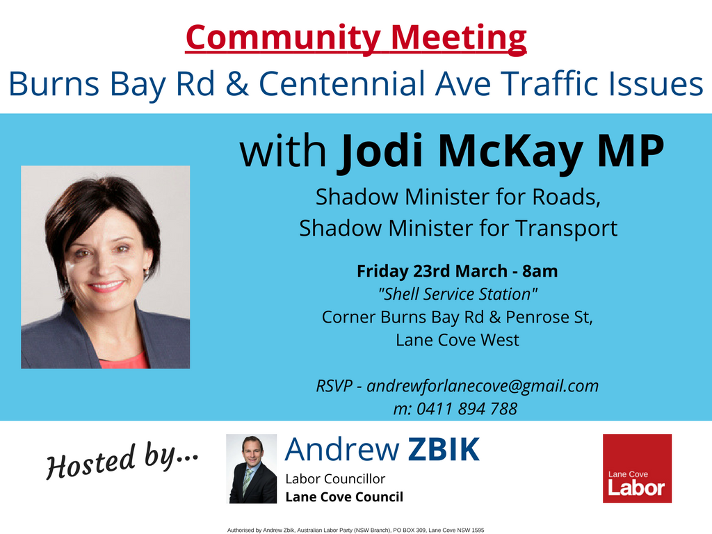 NSW Shadow Minister for Roads Jodi McKay MP to visit Lane Cove