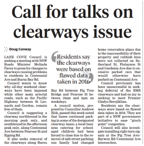 Calls for Talks on Clearway Issues