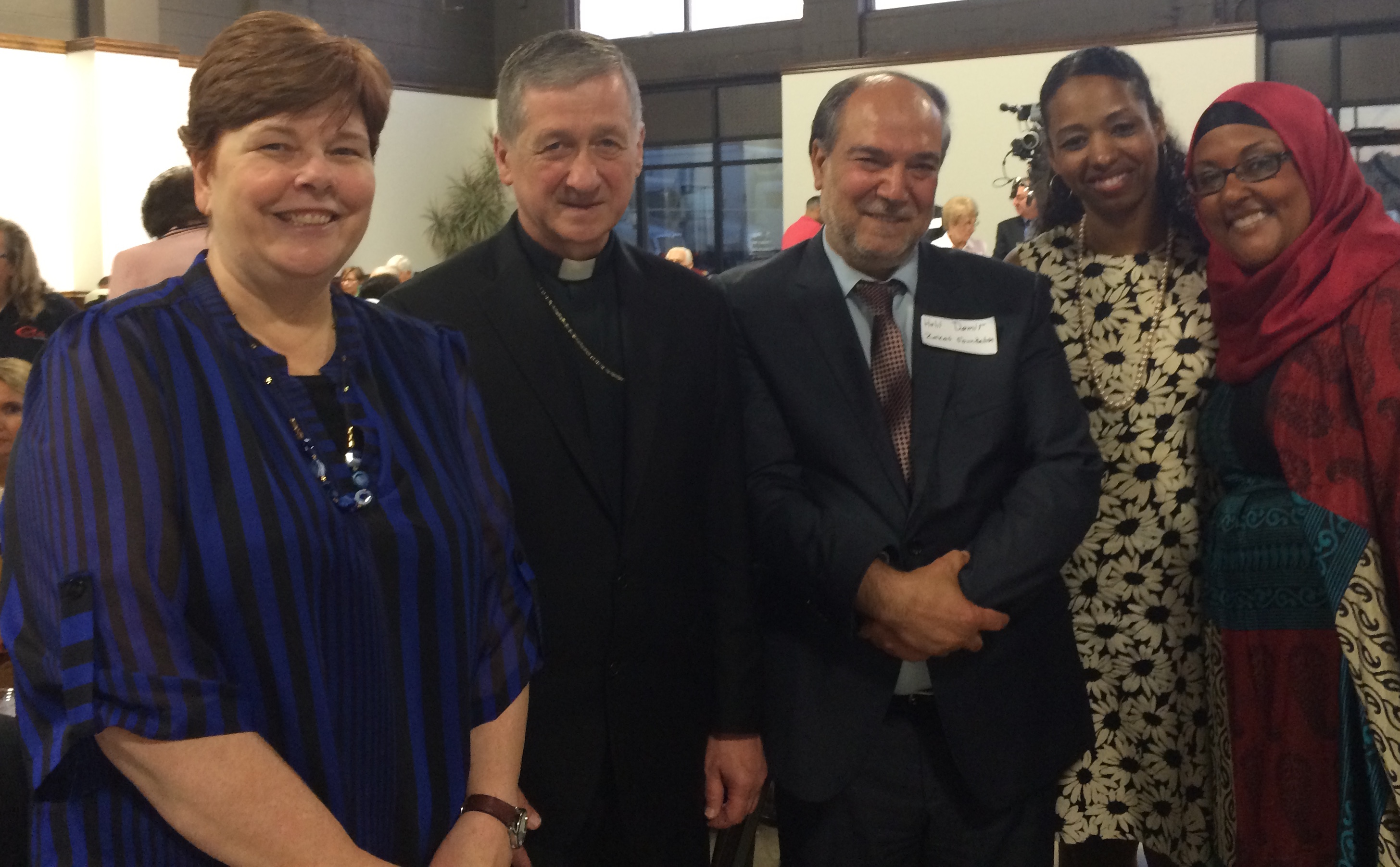 From Left to Right: Rev. CJ Hawking, Abp. Blase Cupic, Dr. Halil Demir, Dr. Larycia Hawking, Donnna Demir