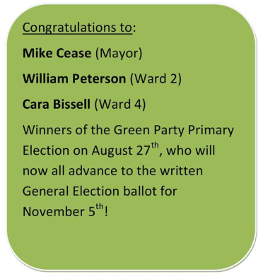 Congratulations to Green Party Candidates!