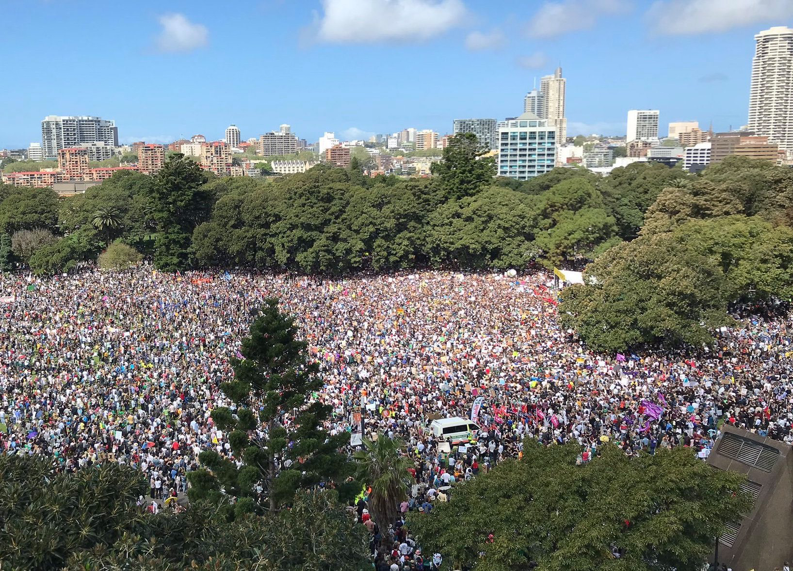 Climate strike sydney from above