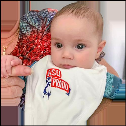 Baby in ASU bib