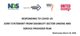 COVID-19 and the NDIS: Joint Union and NDS Statement