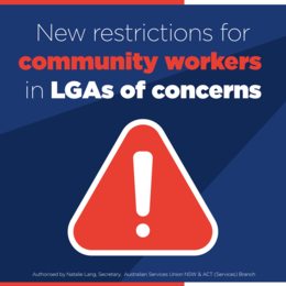 New Restrictions for LGAs of Concern - Community Sector