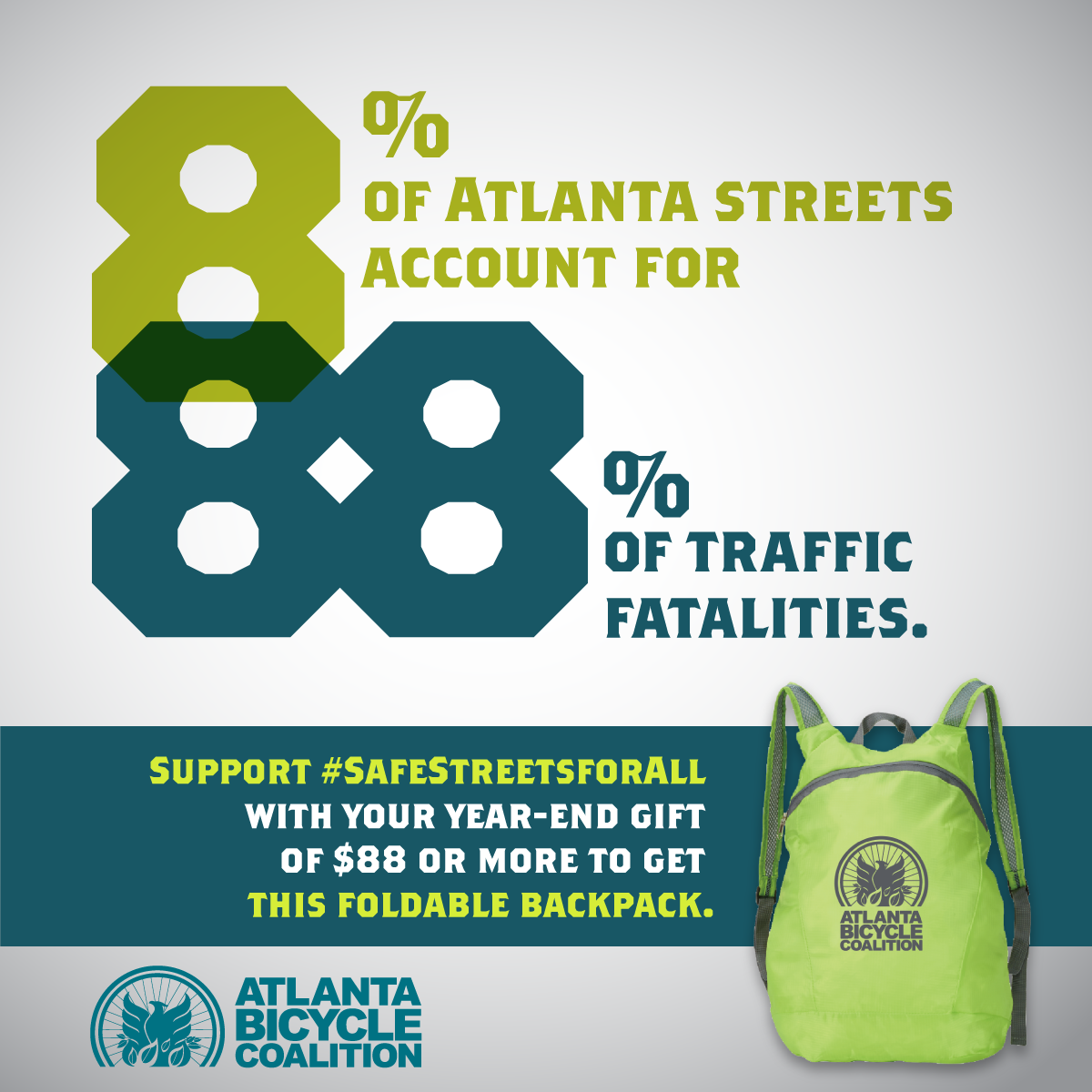 Image: Get a foldable Atlanta Bicycle Coalition backpack with your donation of $88 or more