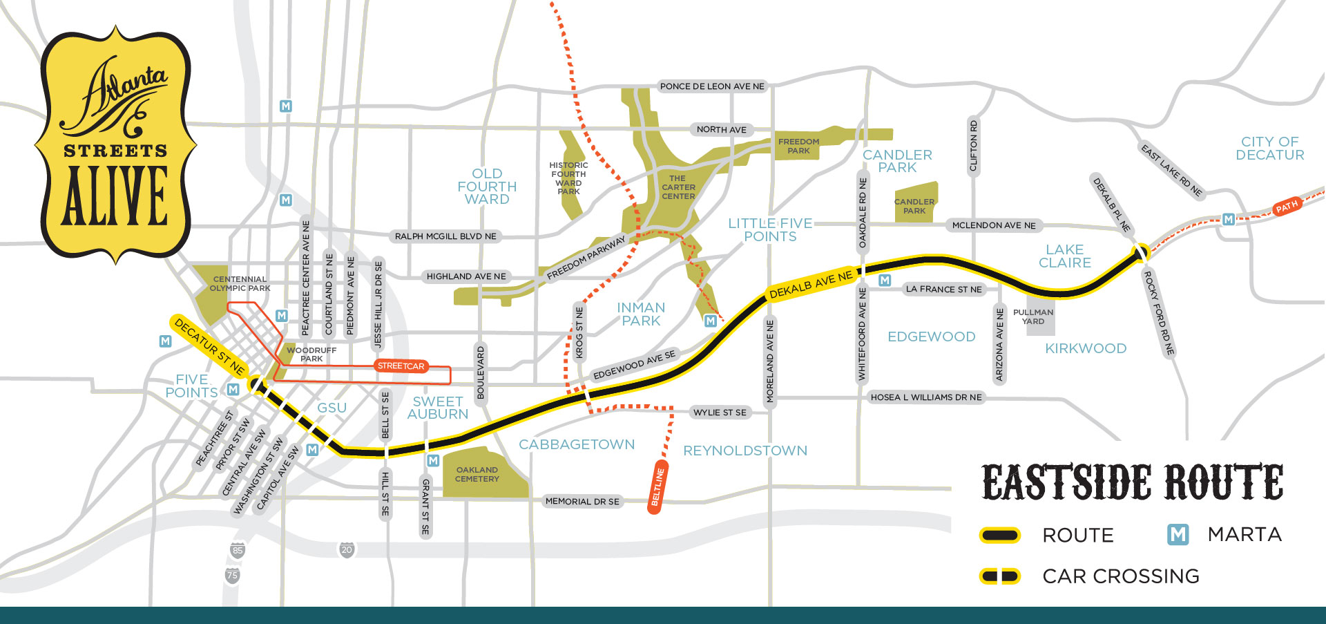 The Beltline Atlanta Map.Eastside Route April 8 Atlantastreetsalive Com