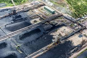 Apparently eroded coal stockpiles and drainage channels at Abbot Point, 9 February 2019 (Pic: Gary Farr)