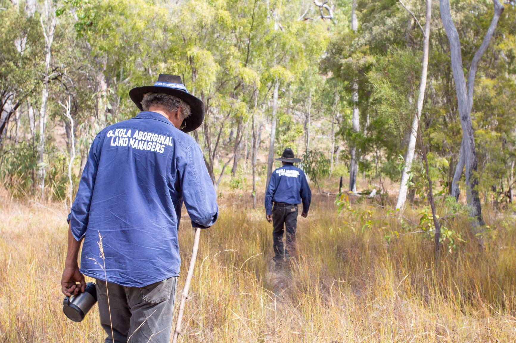 Olkola Aboriginal Land Managers walking through savannah
