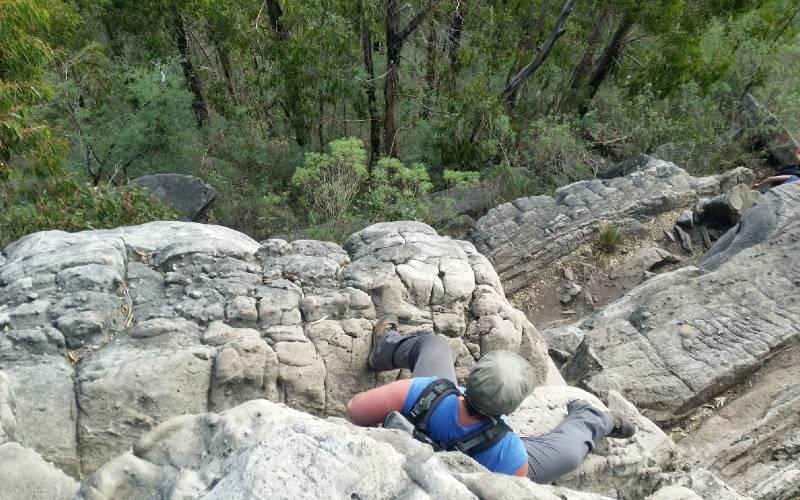 CEO Kelly O'Shanassy hikes up a mountain in Ironbound Range, Tasmania