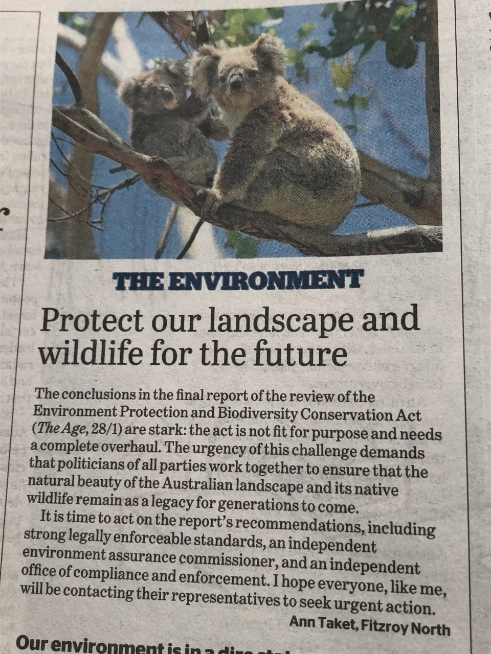 Letter to the editor published in the Age