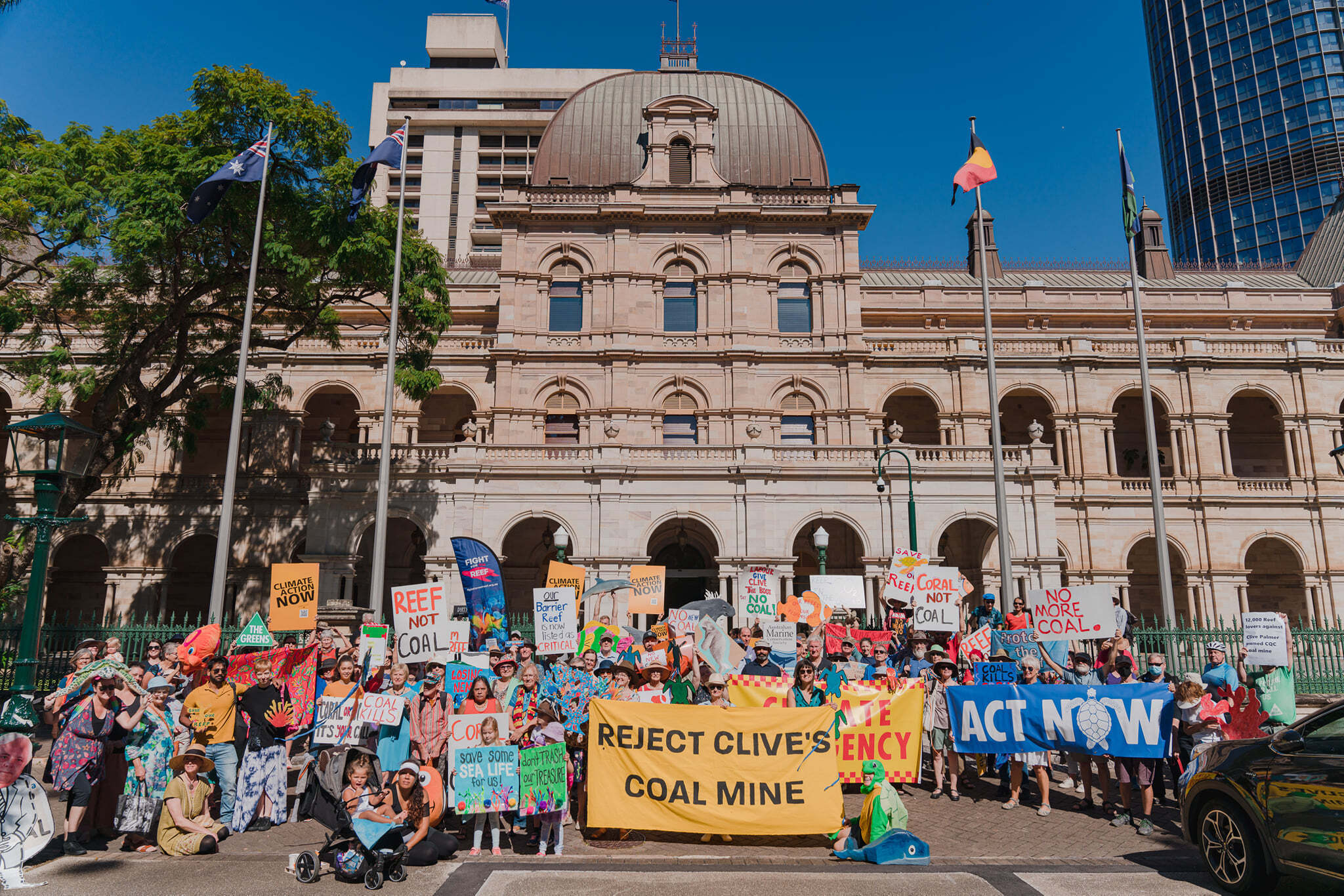 ACF community groups in Queensland speaking up at the Queensland state parliament against Clive Palmer's coal mine