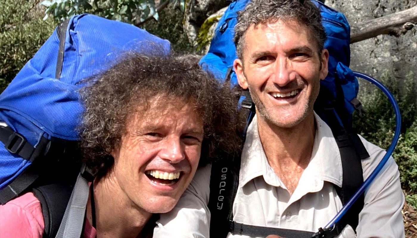 Two male hikers in Australian scrubland