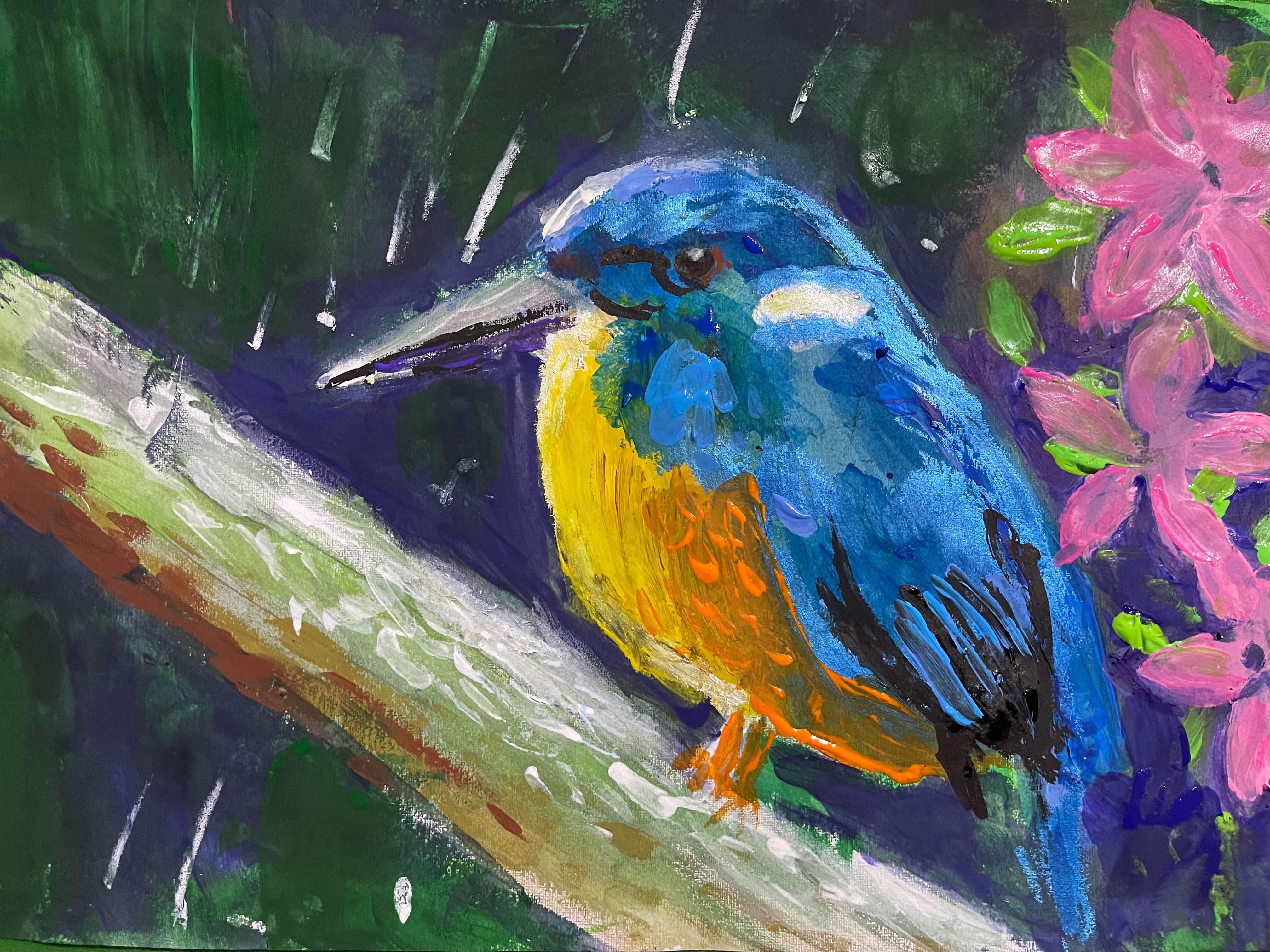 Tasmanian Azure Kingfisher by Isabella, age 7.