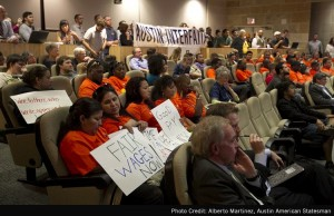 City of Austin passes historic living wage ordinance. Photo by Alberto Martinez, Austin American Statesman