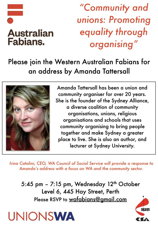 Amanda Tattersall WA Fabians address