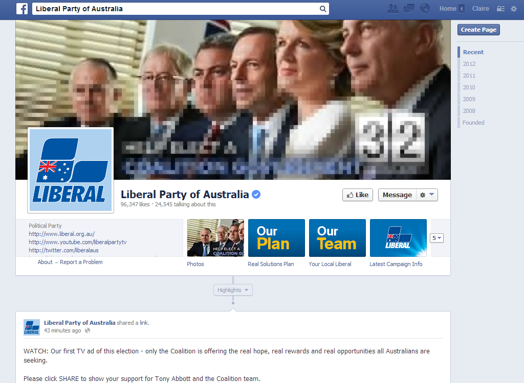 Liberal Party Facebook Page August 5