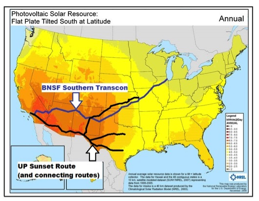 BNSF Southern Transcon and UP Sunset Route corridors, overlaid on solar photovoltaic energy potential mapSource: National Renewable Energy Laboratory for the U.S. Department of Energy, November 2008