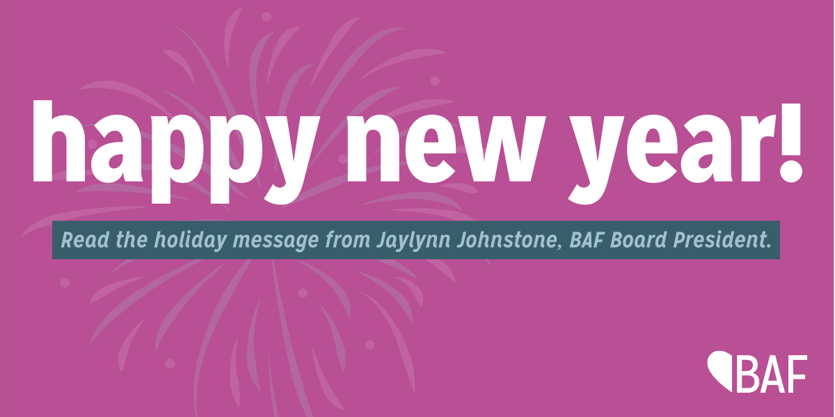 "Image has a bright pink background and says ""Happy New Year!"" in white."