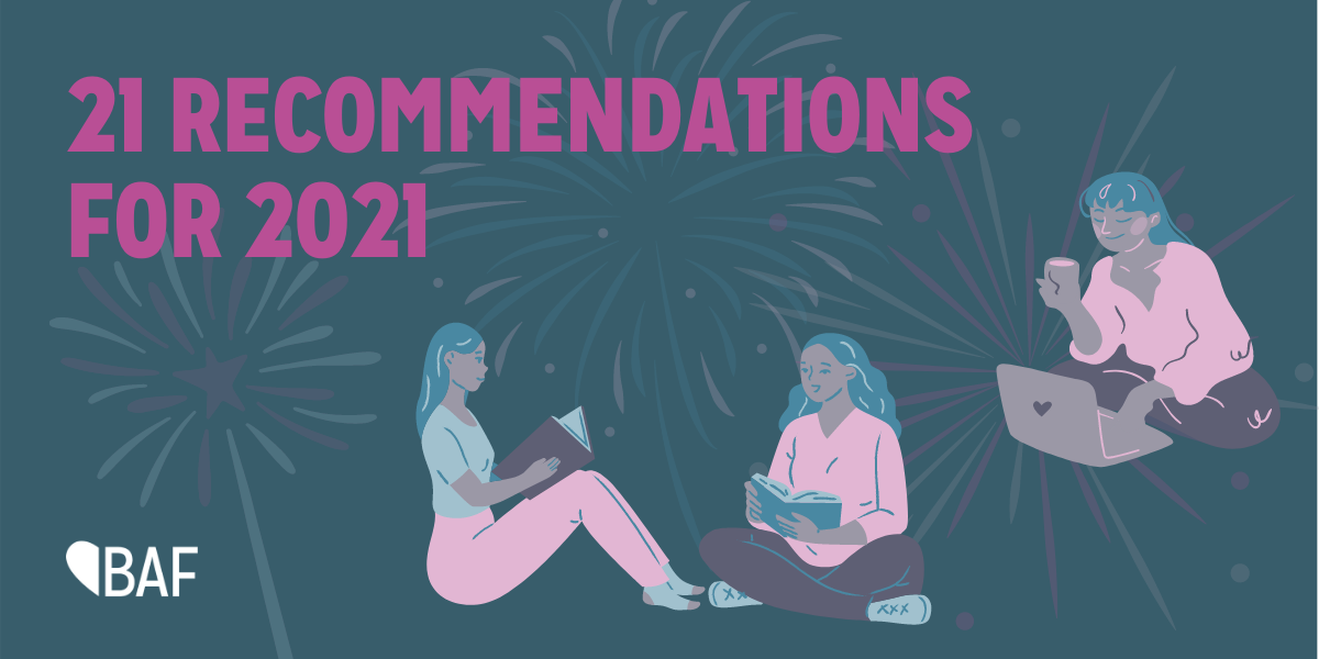 21 recommendations for 2021. Image shows three people reading books and on the computer.