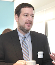 Evan Benjaming at the TechSpring launch event.jpg