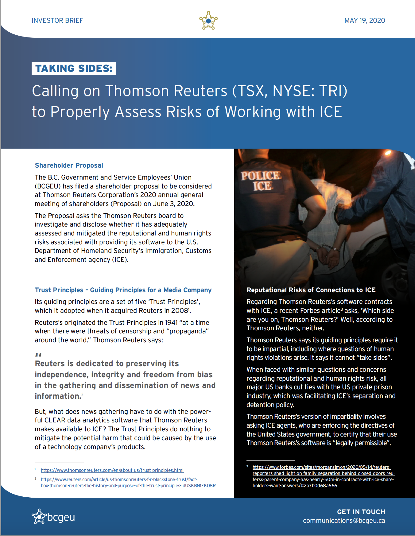 Cover of BCGEU's Thomson Reuters Investor Brief