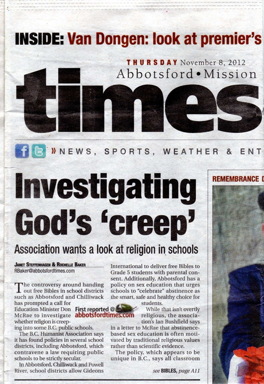 Abbotsford Times front page