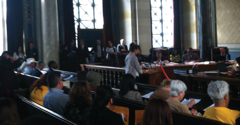 Bend the Arc leader Claire Wazana Meredith testifying at the LA City Council in support of affordable housing