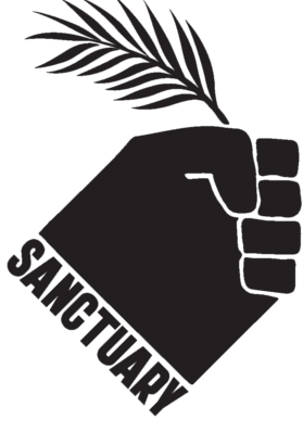 "Hand holding palm, word ""Sanctuary"""