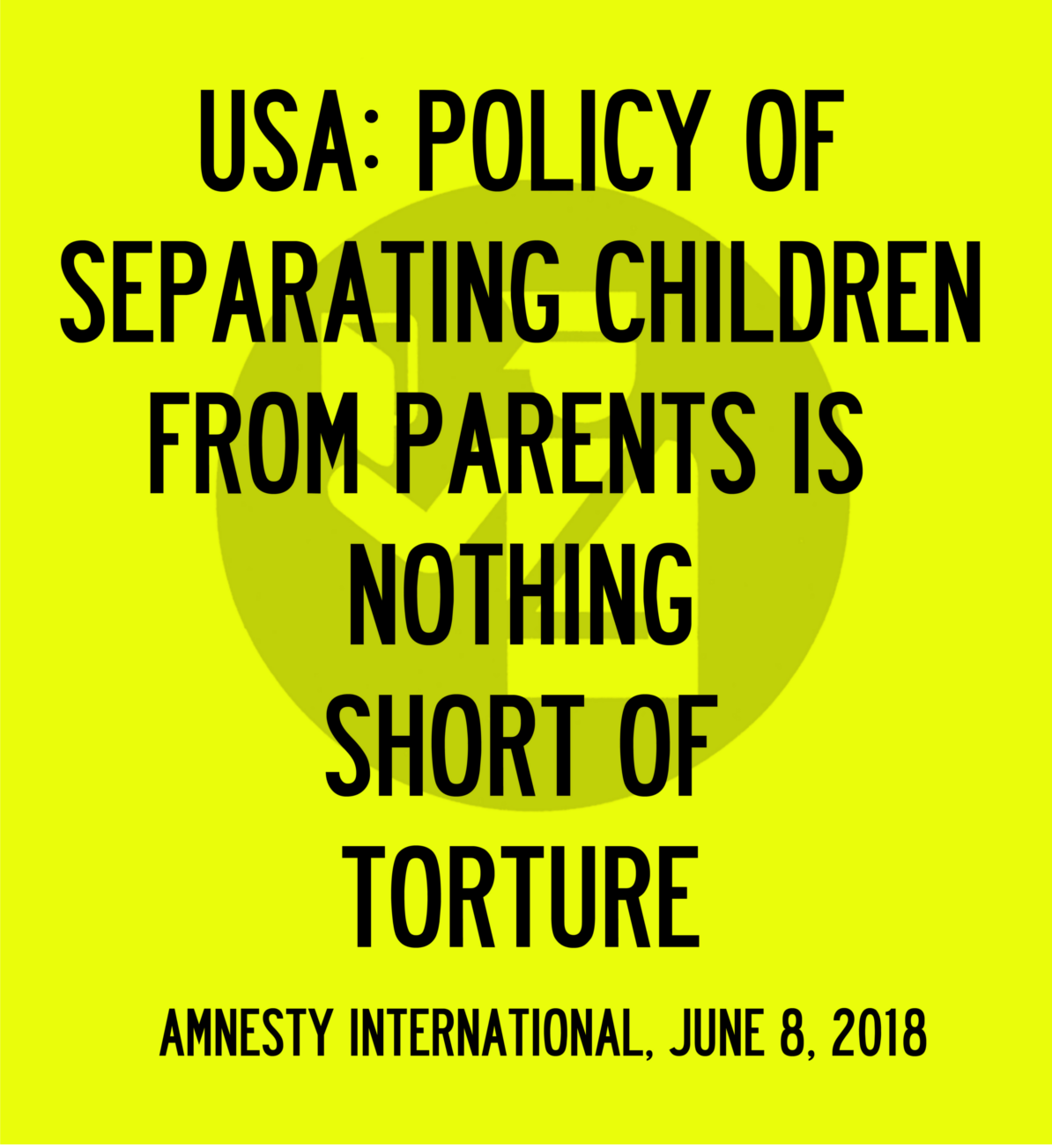 Amnesty International: Separating children from their parents is torture