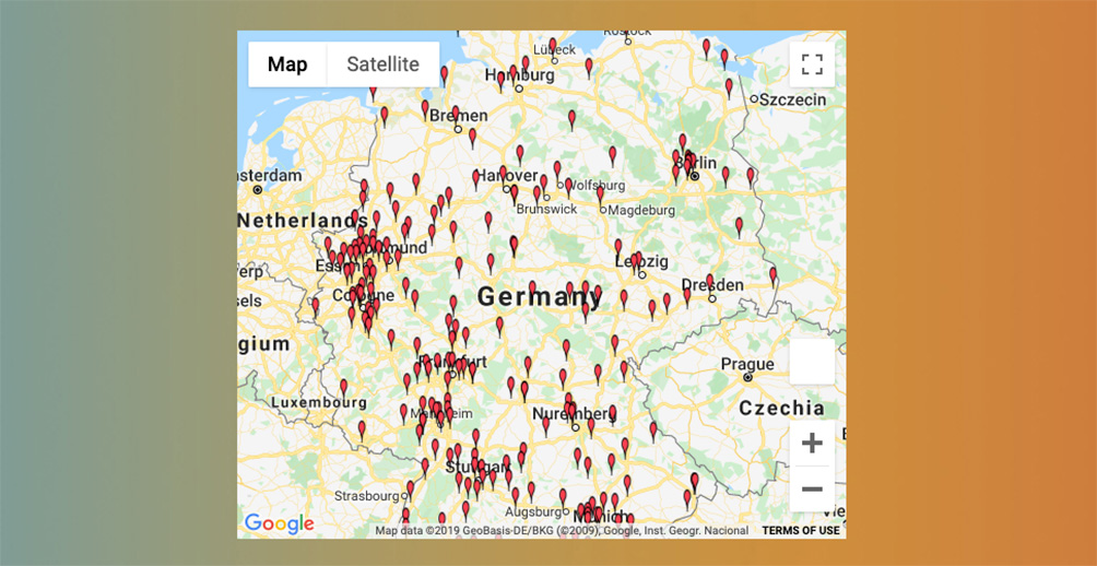 Map of Germany with all planned screenings