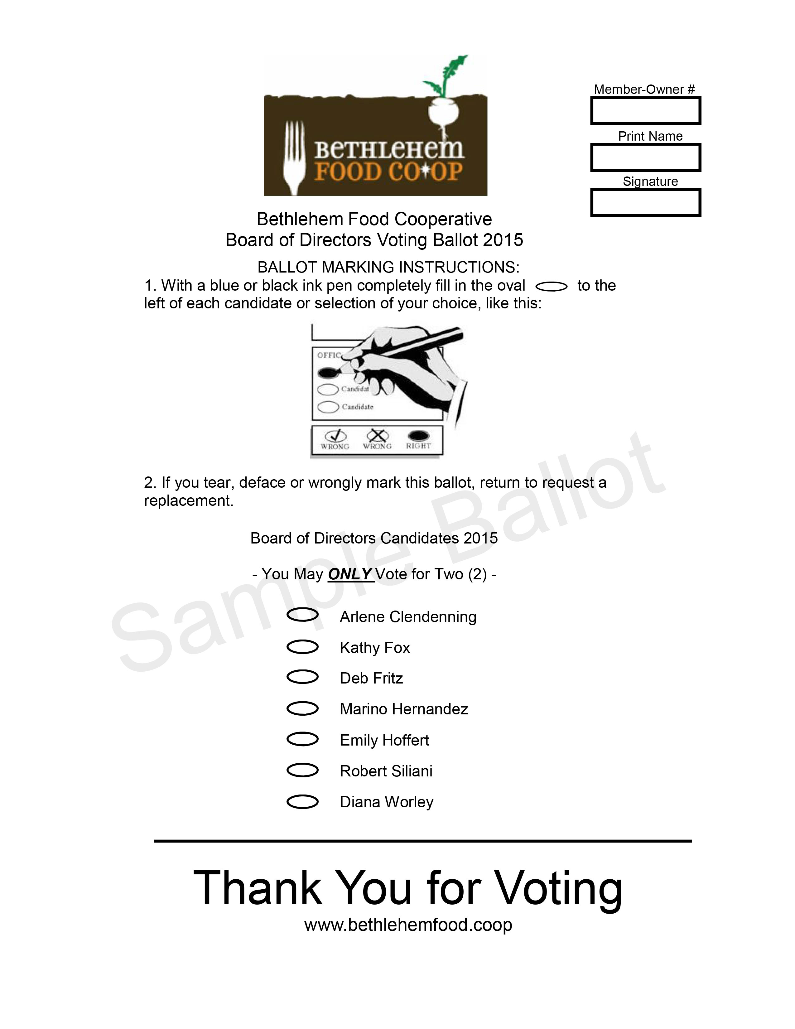 2015 BFC Voting Ballot