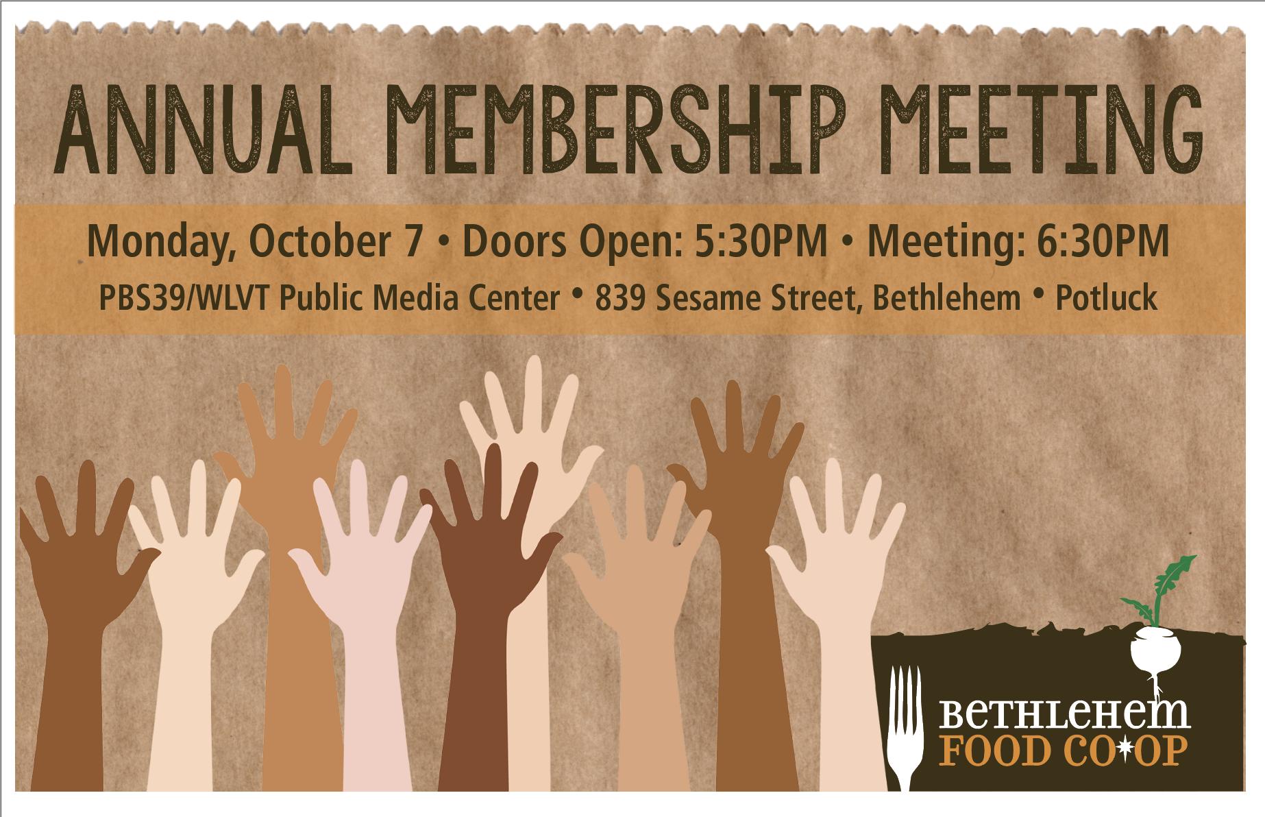 Annual Membership Meeting • Monday October 7, 2019 • Doors Open 5:30pm • Program 6:30pm