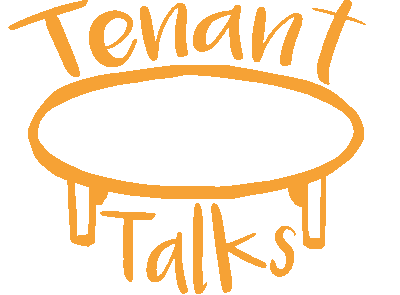 The tenant talks logo - a table with the words 'Tenant Talks' around it