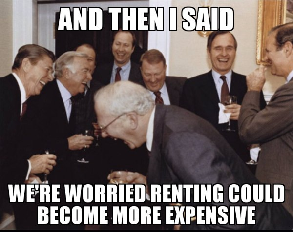 rich people laughing at the thought that agents are concerned about making more profit
