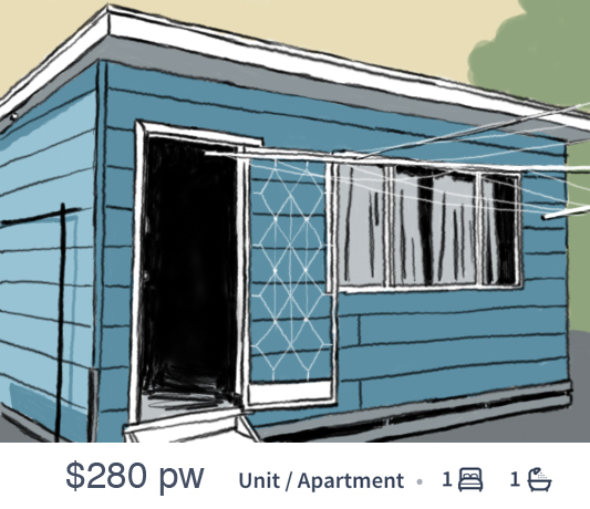 An illustration of a run-down granny flat being advertised for $280 a week