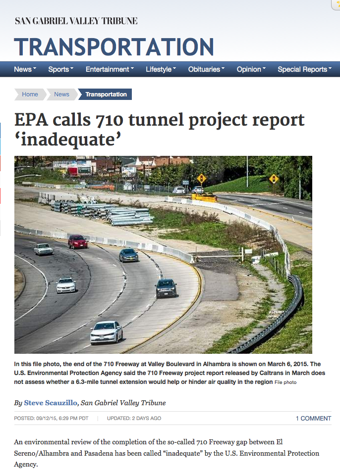 EPA calls 710 tunnel project report 'inadequate'