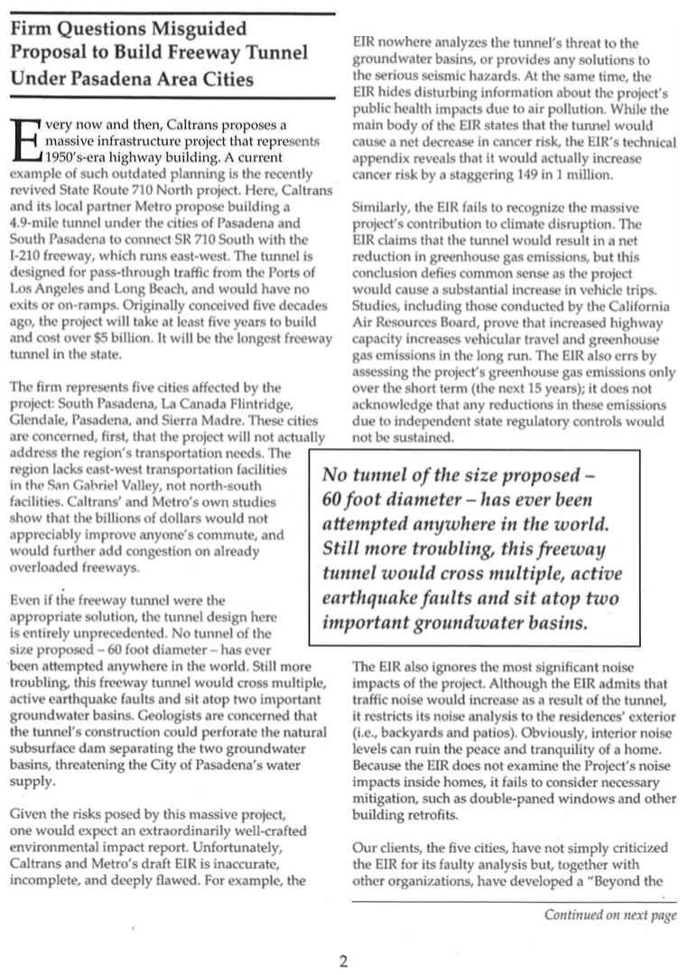 "Shute, Mihaly & Weinberger article regarding the SR-710 from the ""Eye on Environment"" newsletter"