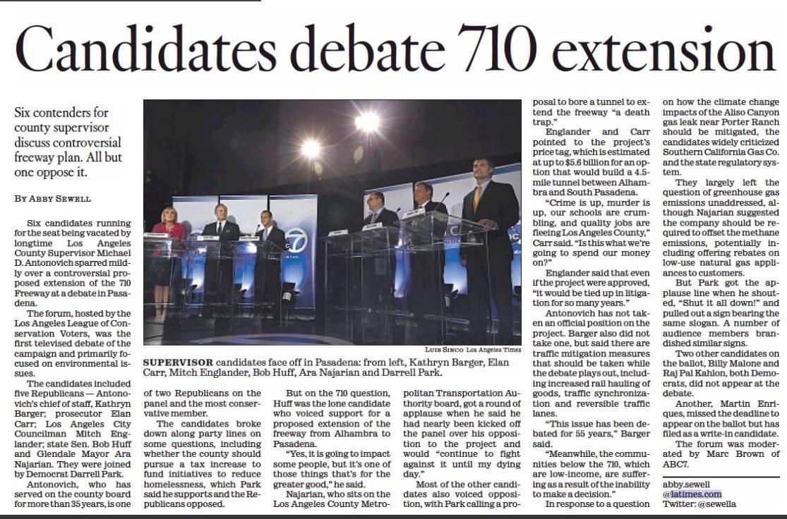 LA Times: Candidates debate 710 extension