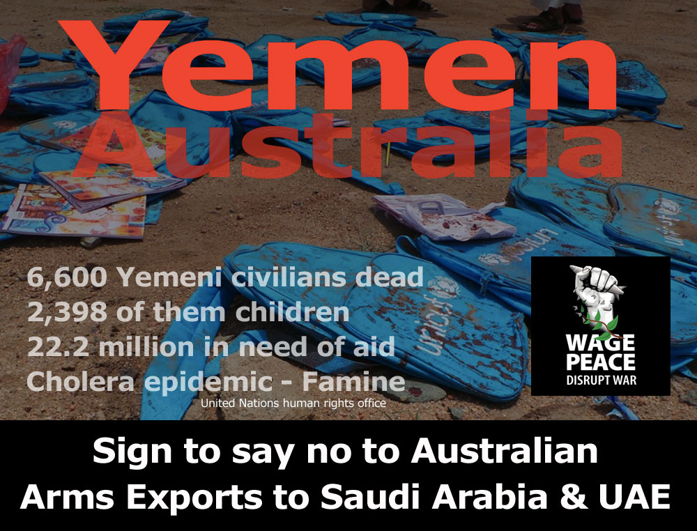 Sign to say NO to Aussie arms sales