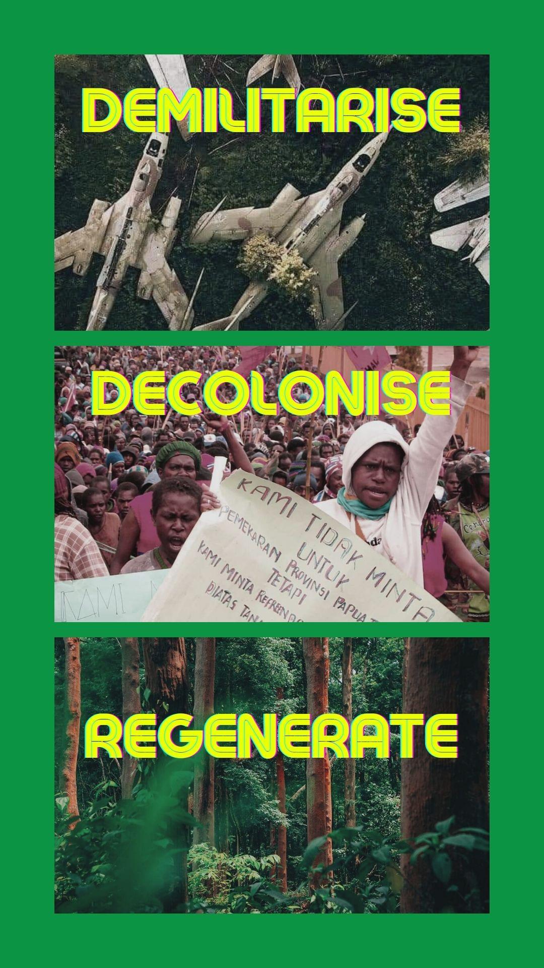 demilitarise decolonise regenerate insta tile
