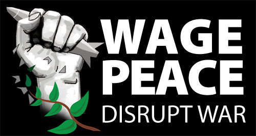 Wage Peace Disrupt War logo