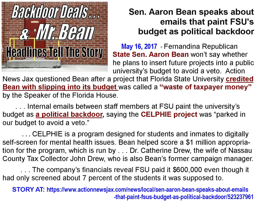 Aaron Bean wasting taxpayer money