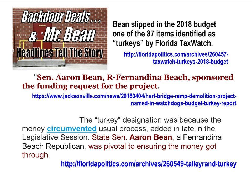 Aaron Bean Budget full of Turkeys